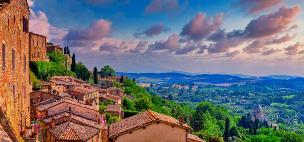 Montepulciano, Italy on a sunny day. stock photo