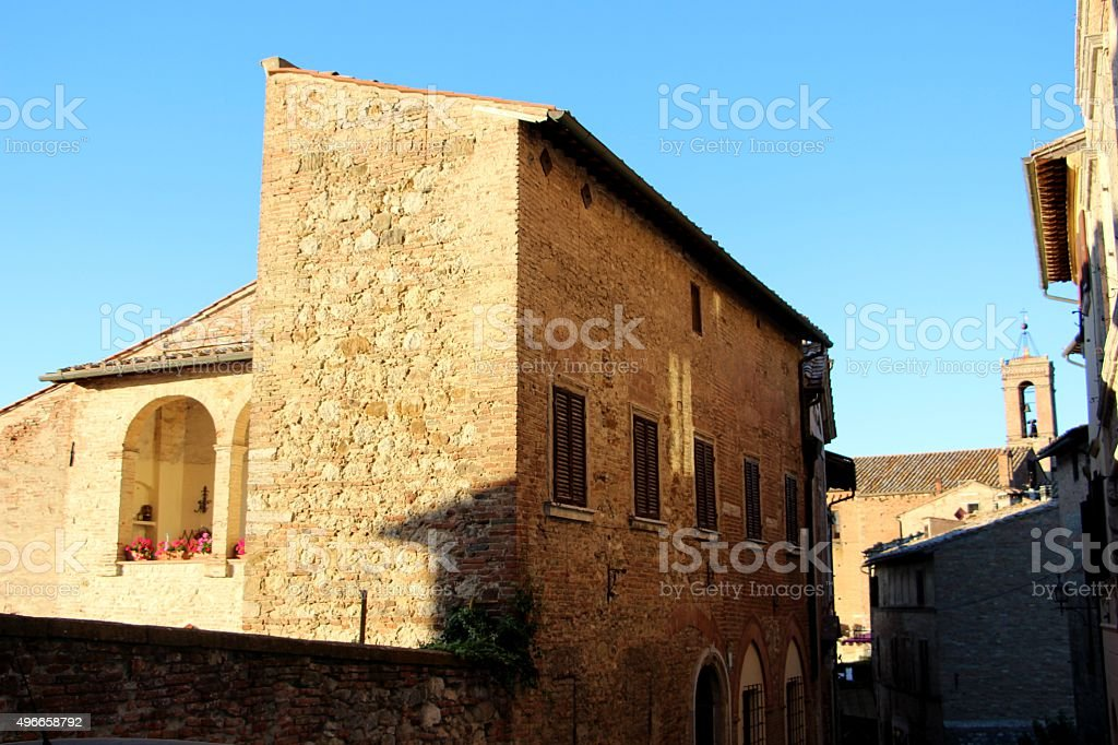 montepulciano - little street in the old town stock photo