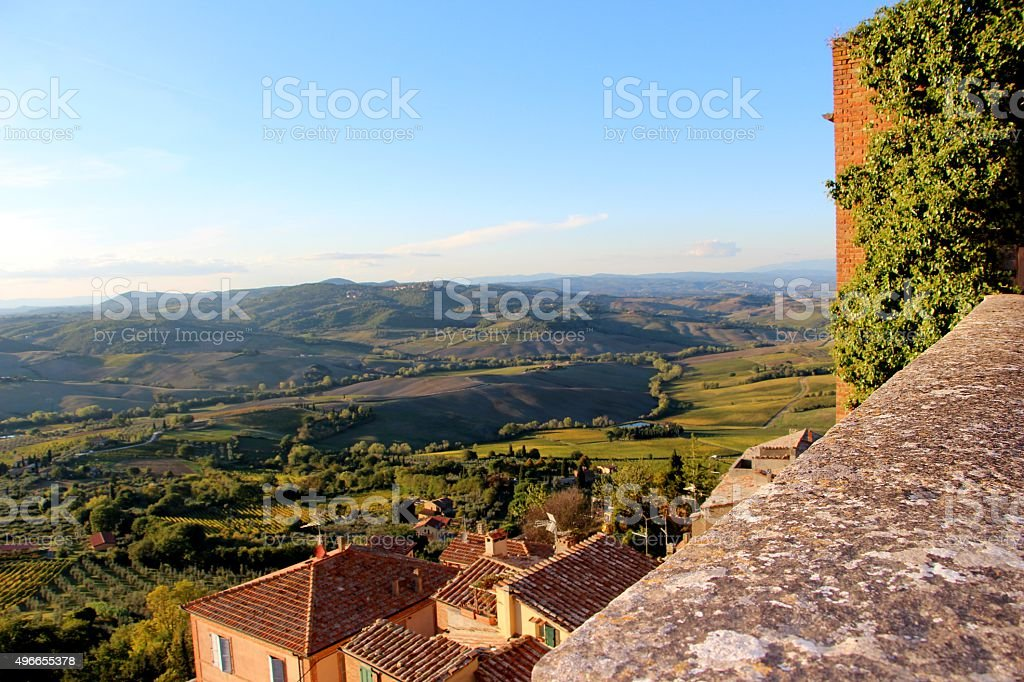 montepulciano - panorama from town stock photo