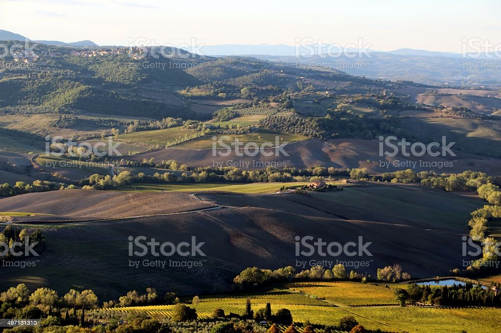 montepulciano - panorama on val d'orcia stock photo