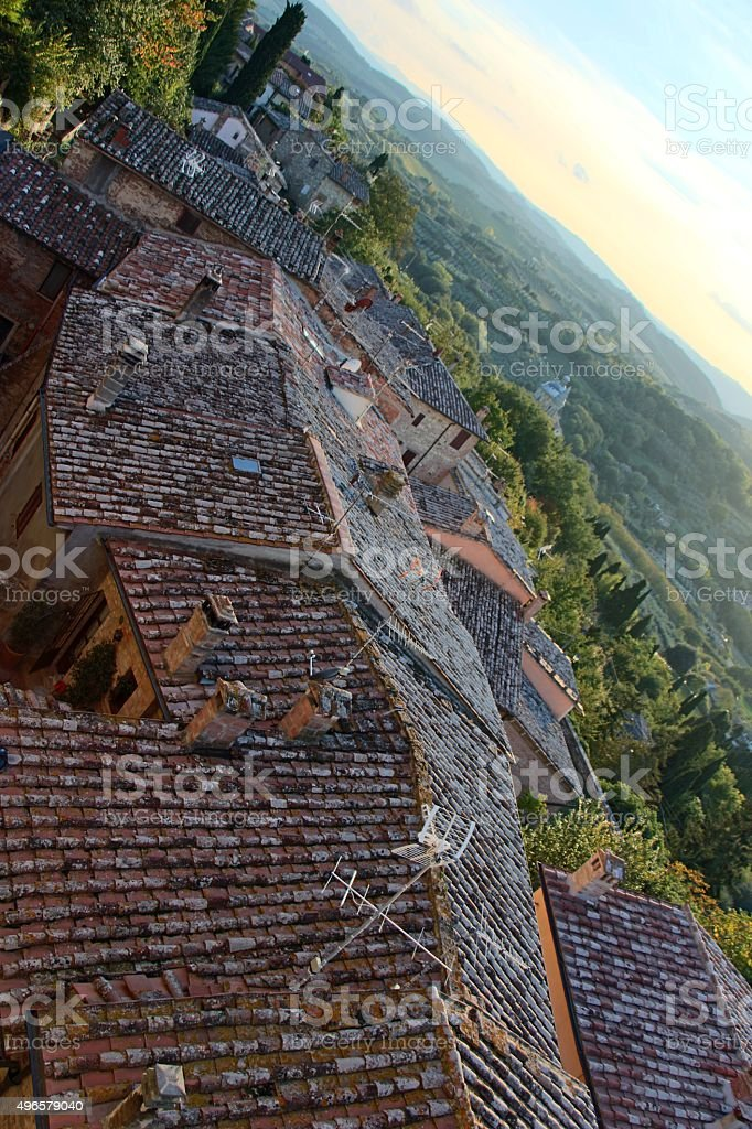 montepulciano - roof of the town and nature stock photo
