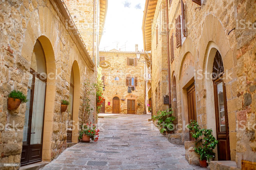 Montepulciano street view stock photo