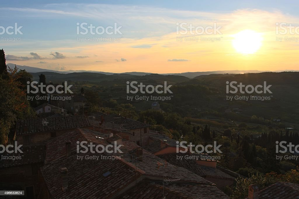 montepulciano - sunset from town stock photo