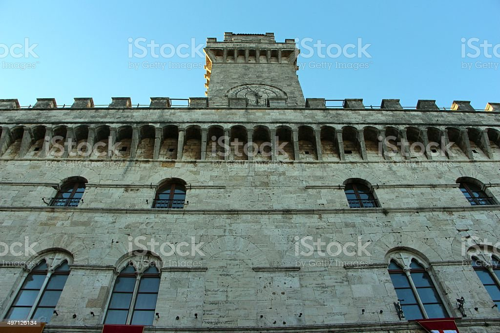 montepulciano - town hall ( palazzo comunale) stock photo