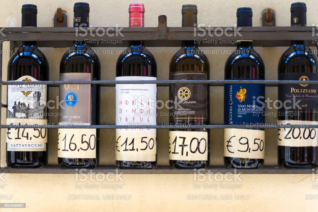 Montepulciano, Tuscany: Bottles of Vino Nobile di Montepulciano Lined Up
