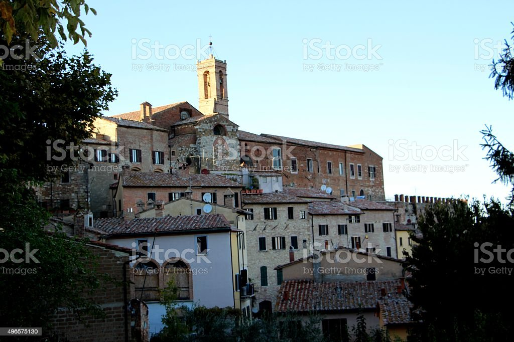 montepulciano - view of the old town stock photo