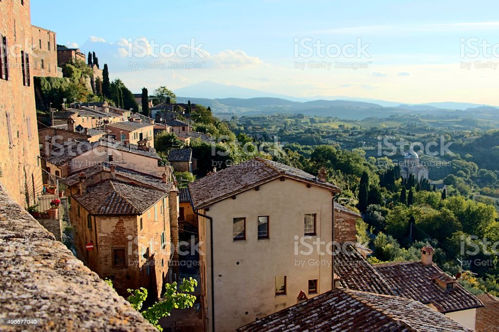 montepulciano - view of the town and nature stock photo