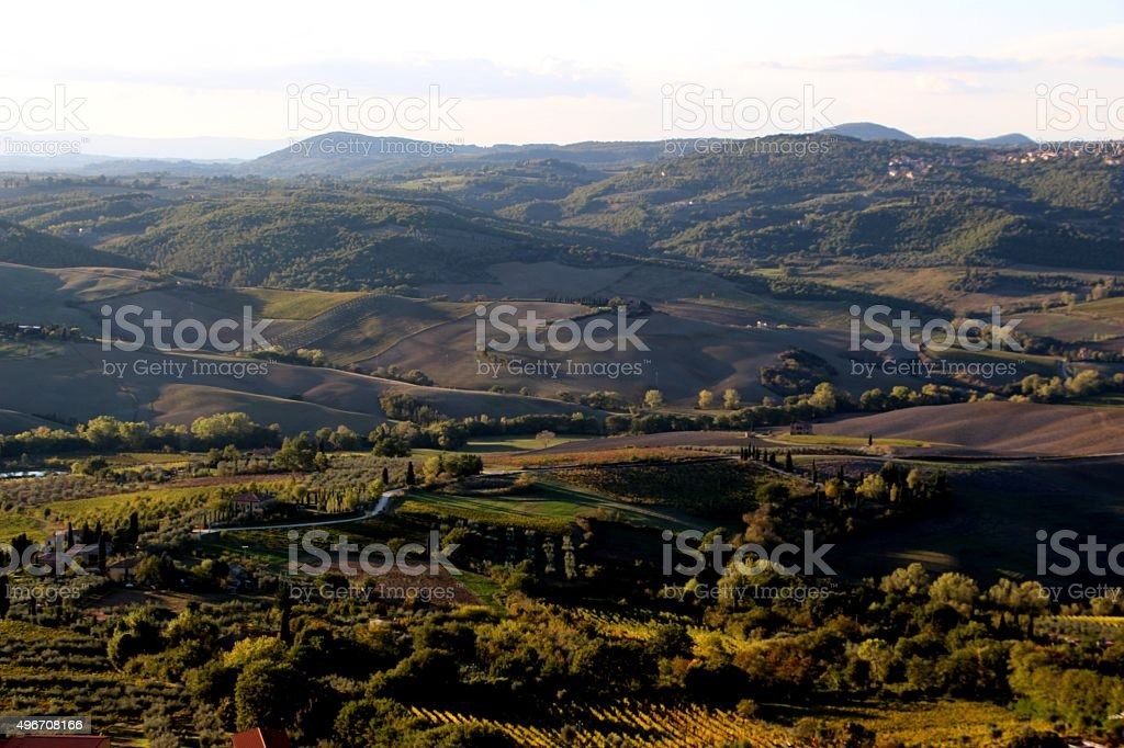 montepulciano - view on val d'orcia stock photo