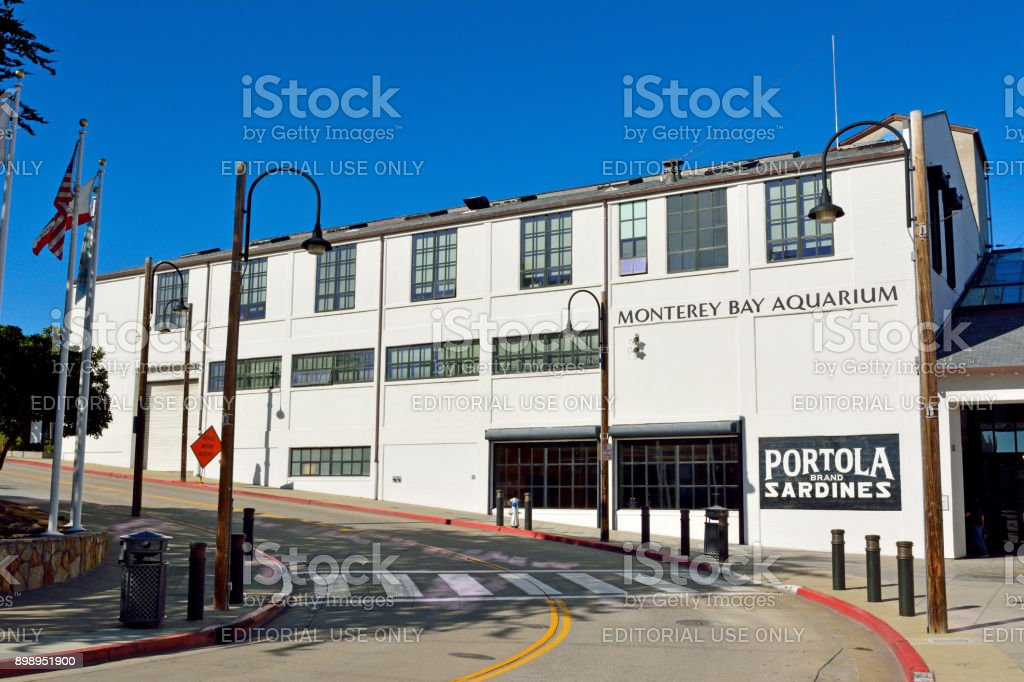 Monterey Bay Aquarium building in Monterey, CA. stock photo