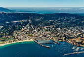 City of Monterey in California seen from the plane on a sunny day.
