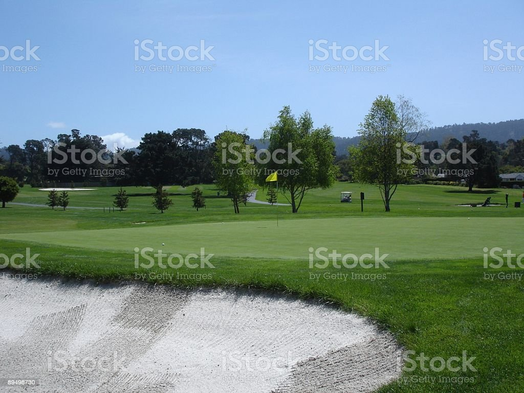 Monterey California golf course green and bunker royalty free stockfoto