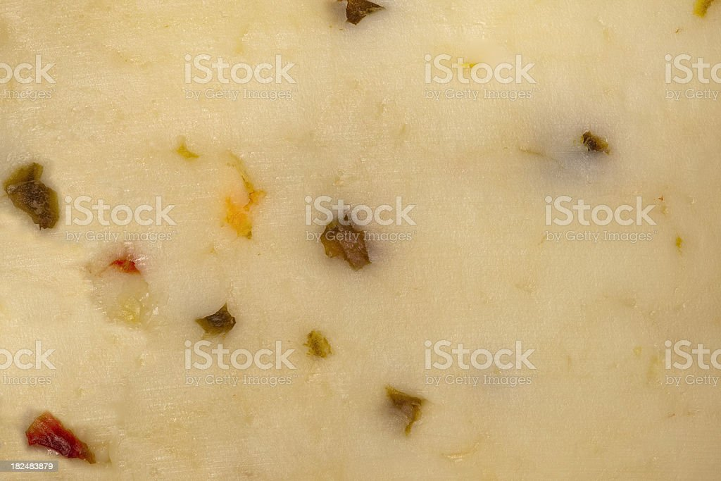 Monterey Jack Cheese with Peppers Background stock photo