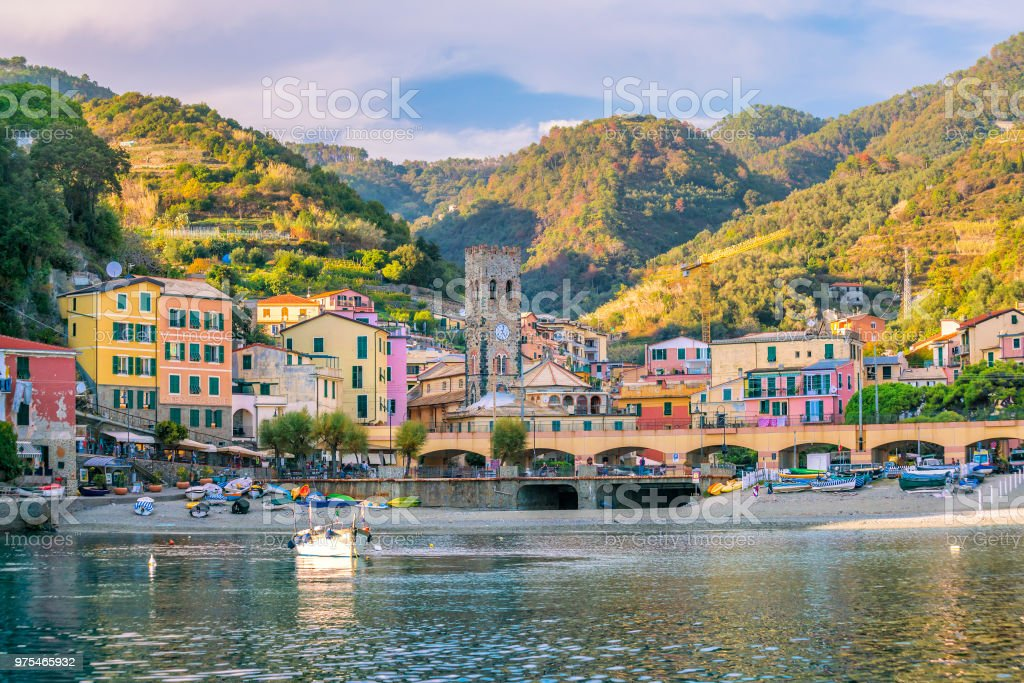 Monterosso al Mare, old seaside villages of the Cinque Terre in Italy stock photo