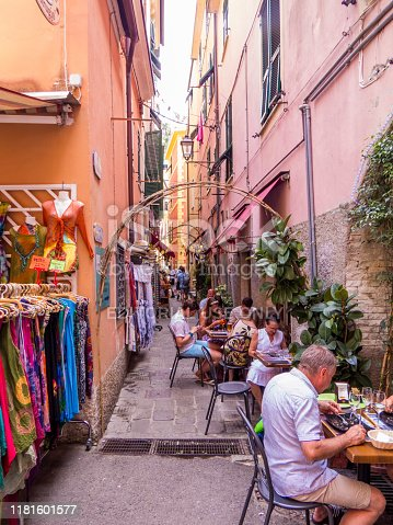 Monterosso, Italy - July 30, 2016: Summer view of the old town of Monterosso al Mare, one of the five villages of the Cinque Terre Riviera in Liguria, north Italy.