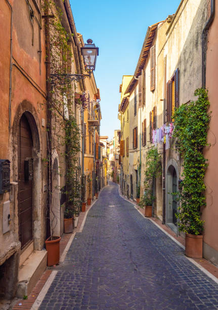 Monterotondo (Italy) - Province of Rome A city in metropolitan area of Rome, on the Sabina countryside hills. Here a view of nice historical center. bell tower tower stock pictures, royalty-free photos & images