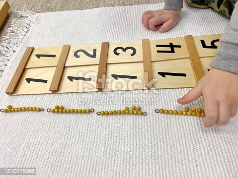 Montessori material Segen wood board # 1 with golden material