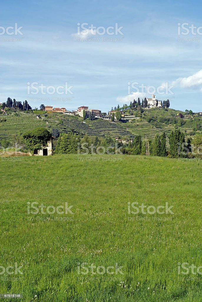 Montevecchia (Lombardy, Italy) from below royalty-free stock photo