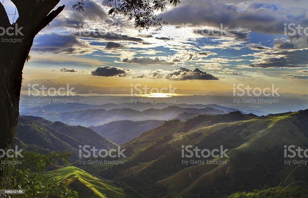 Monteverde Costa RIca Landscape towards Pacific Ocean stock photo