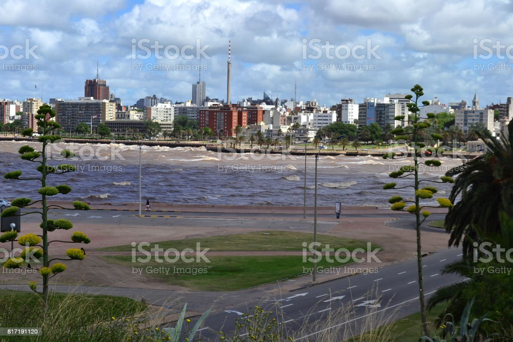 Montevideo dowtown view from the coast stock photo