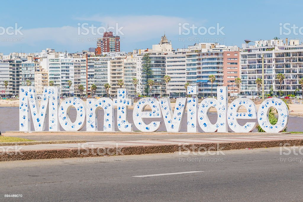 Montevideo Letters at Pocitos Beach stock photo