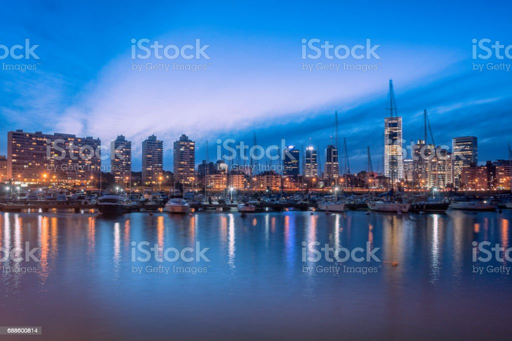 Montevideo skyline from river stock photo