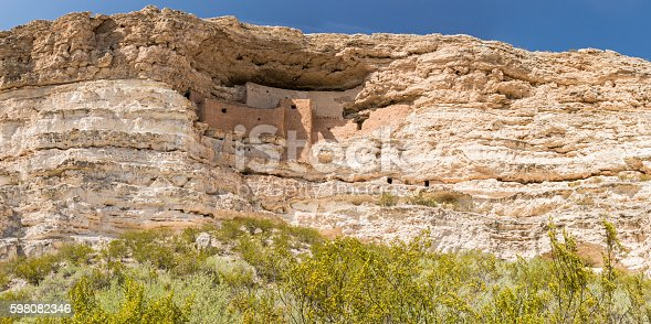 Panoramic view of the Native American cliff dwellings in Montezuma Castle National Monument, Arizona