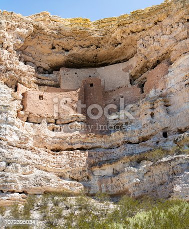 Montezuma Castle is situated about 90 feet (27 m) up a sheer limestone cliff, facing the adjacent Beaver Creek, which drains into the perennial Verde River just north of Camp Verde. It is one of the best-preserved cliff dwellings in North America.