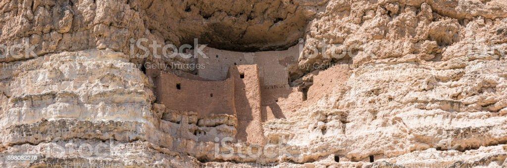 Montezuma Castle Cliff Dwelling Panorama stock photo