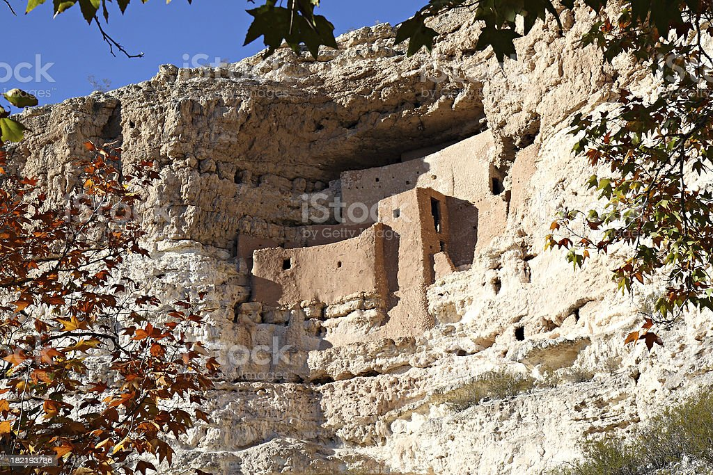 Montezuma Castle Indian Cliff Dwelling Ruins, Arizona stock photo