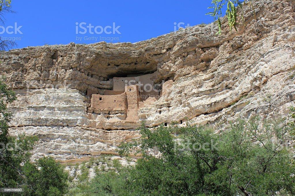 Montezuma Castle Over the Tree Tops stock photo