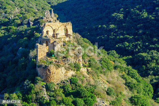 View of the remains of the Montfort Castle, and Kziv stream landscape, in the Upper Galilee region in northern Israel