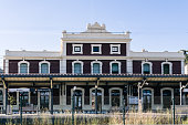 Montgat, Spain - August 22, 2020. Montgat railway station. It is on the Maresme line on the Barcelona-Mataró section, the first to be opened in Spain.