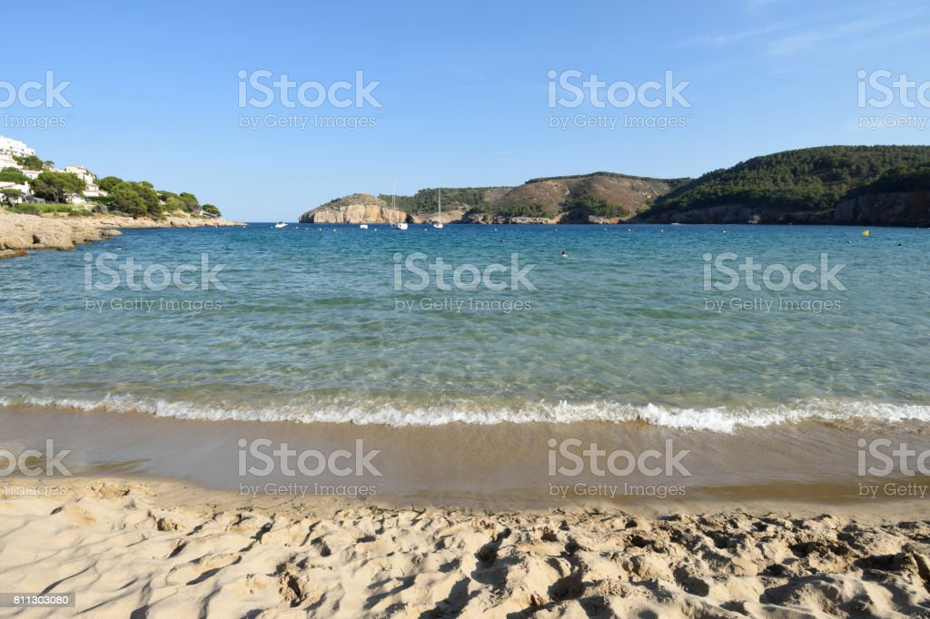 Montgo beach of  l Escala and Torroella de Montgri, Costa Brava,Girona province,Catalonia,Spain stock photo