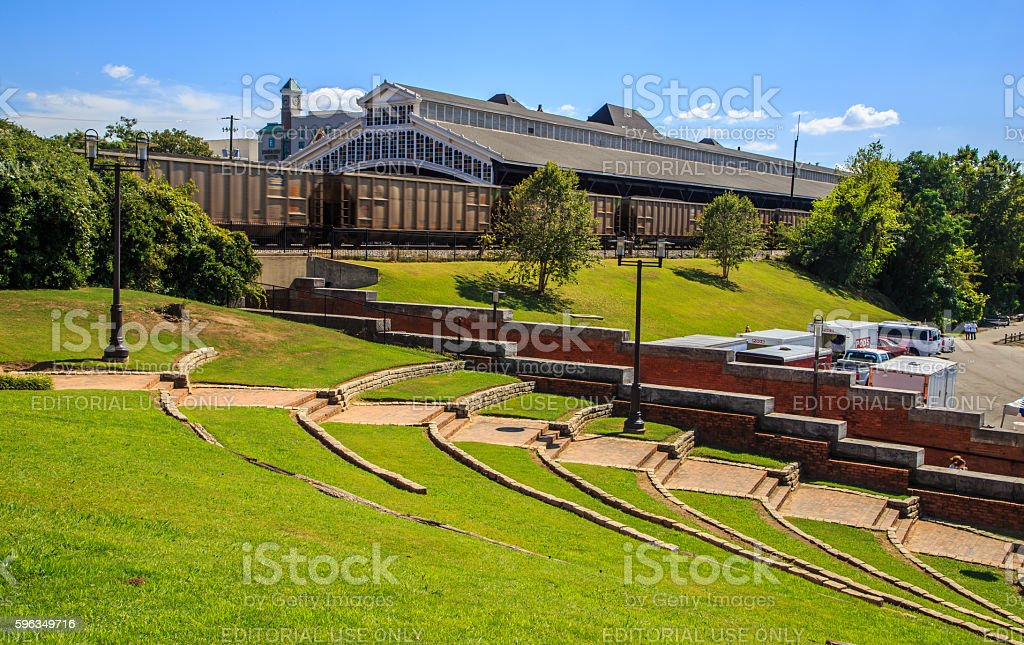 Montgomery, Alabama Riverfront and Moving Train royalty-free stock photo
