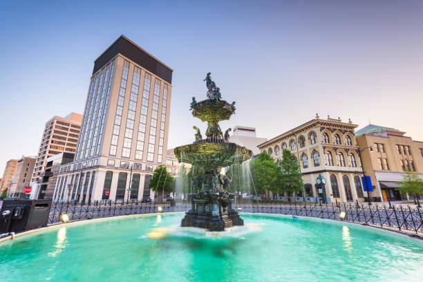 Montgomery, Alabama, USA fountain and downtown cityscape stock photo