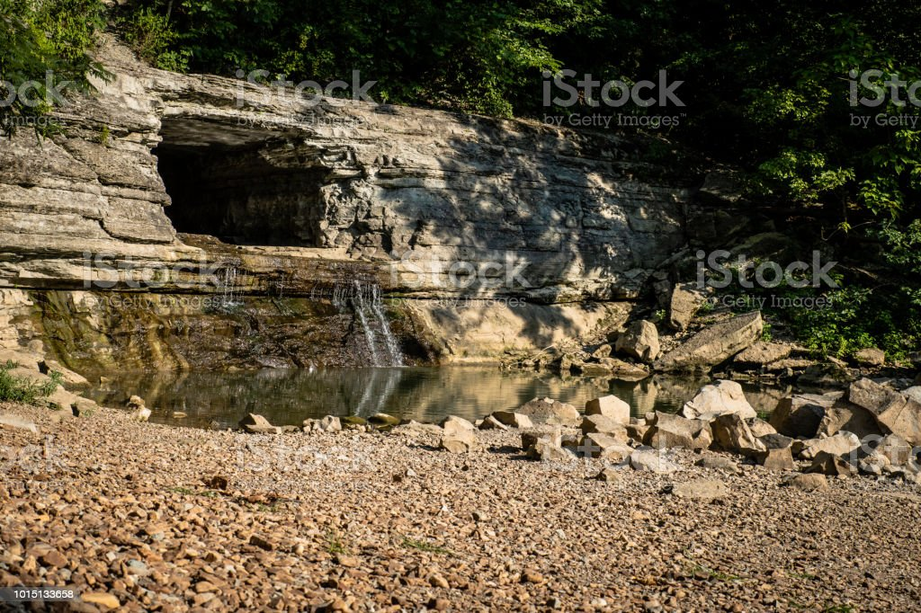 Montgomery Bell Tunnel on the Harpeth stock photo