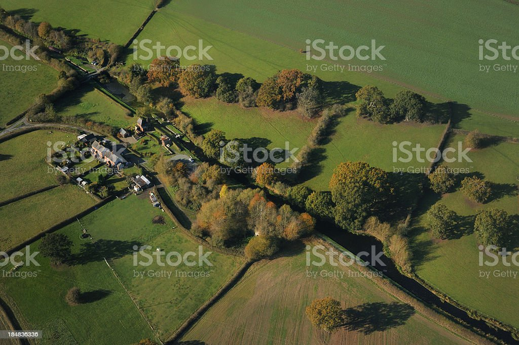 Montgomery Canal from above stock photo