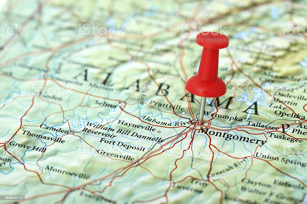 Montgomery Map, Alabama - USA stock photo