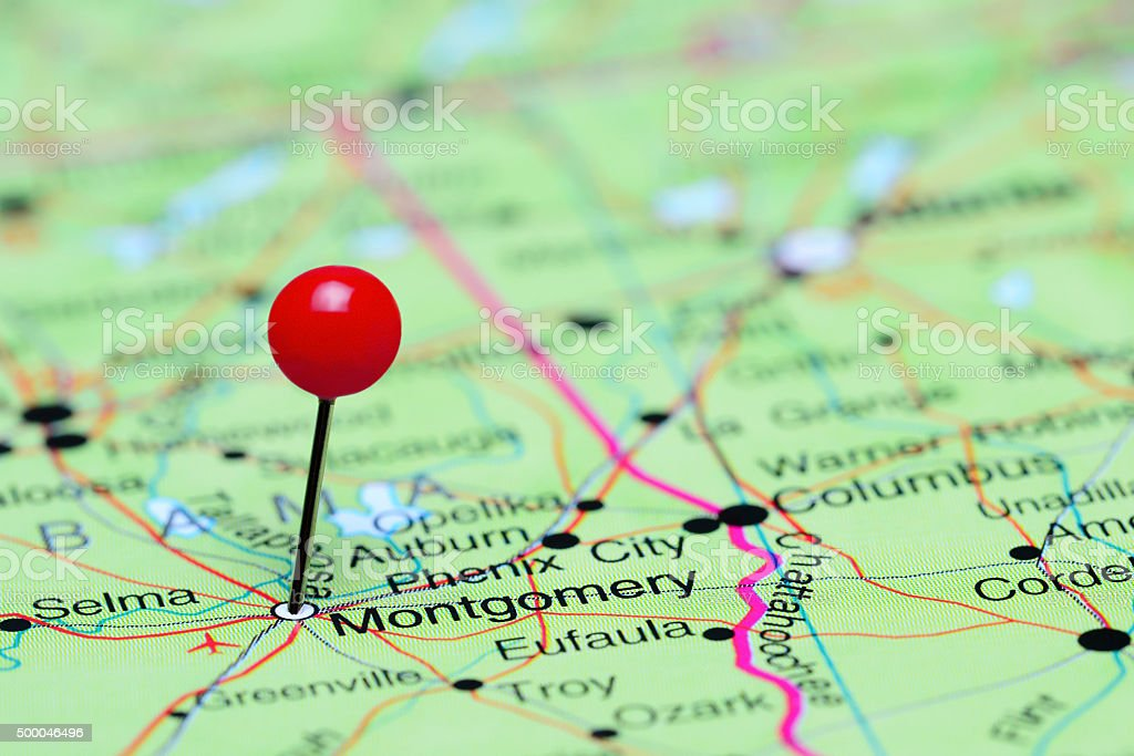 Montgomery pinned on a map of USA stock photo