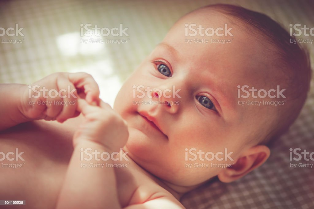 4 month baby boy stock photo