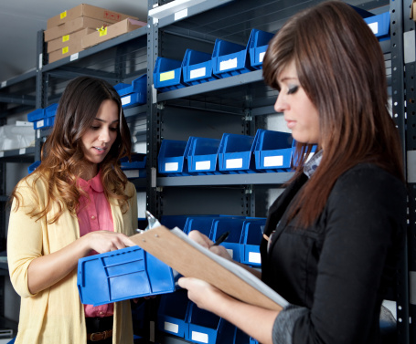 Month End Inventory Count In A Stockroom Stock Photo - Download Image Now