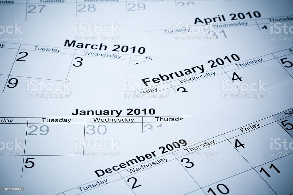 Month of 2010 year royalty-free stock photo