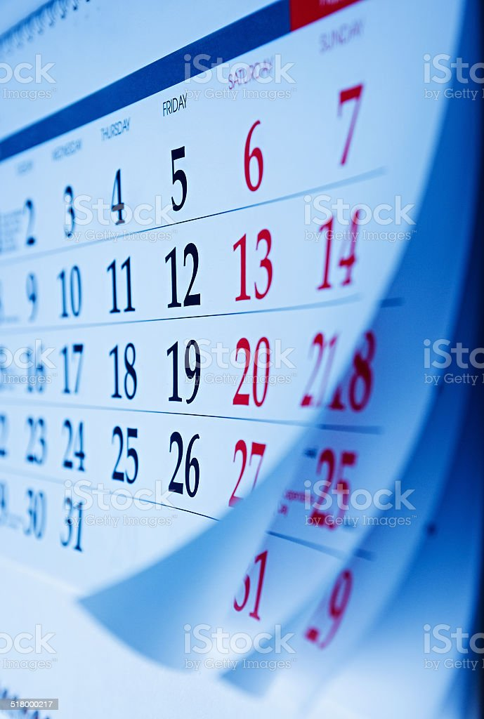 Month on a calendar viewd at an oblique angle stock photo