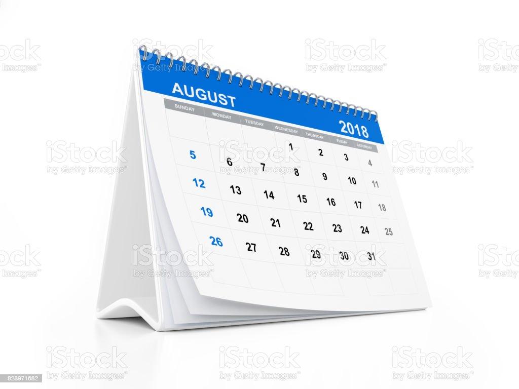 2018 Monthly Blue Desk Calendar: August stock photo