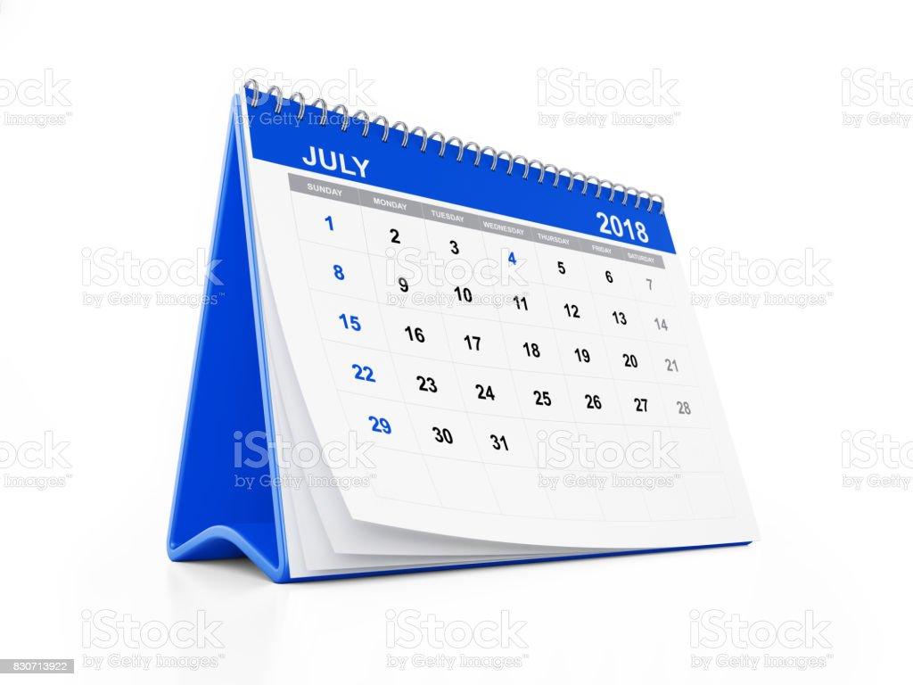 2018 Monthly Blue Desk Calendar: July stock photo