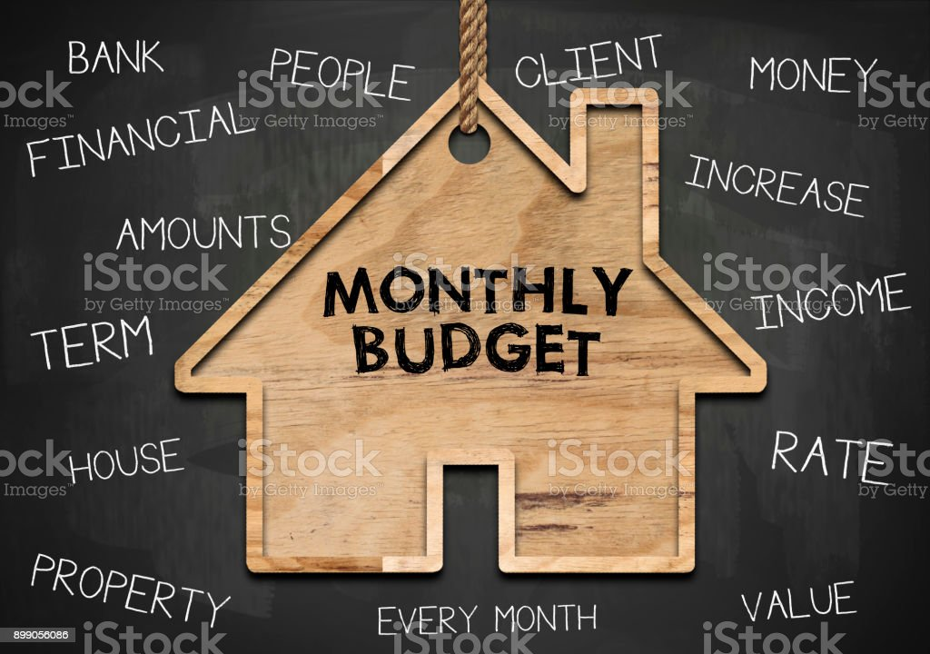 Monthly Budget / Blackboard concept (Click for more) stock photo