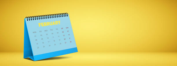 2021 monthly calendar of February. stock photo