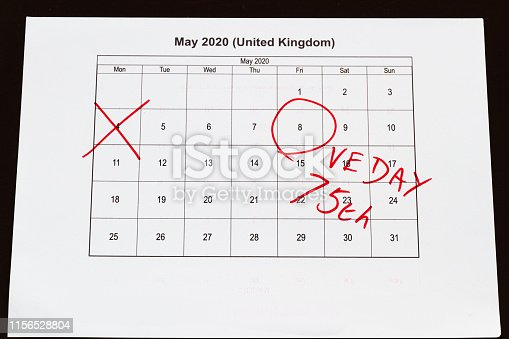 istock Monthly calendar with 4 May crossed out and 8 May 2020 VE Day circled,landscape 1156528804