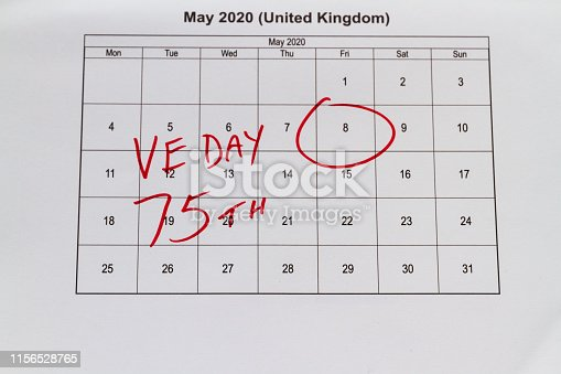 istock Monthly calendar with 8 May 2020 VE Day 1156528765