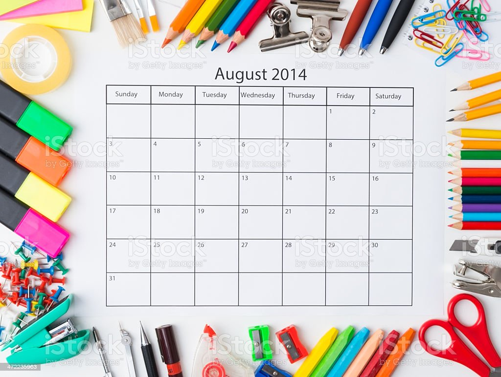 Monthly calendar with office and stationery for 2014 stock photo